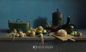 Stilleven met fruit en brood tegen blauw - Henk Helmantel