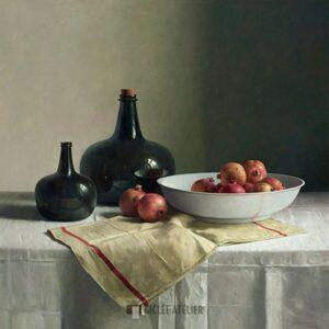 Stilleven met granaatappels op chinese schaal - Henk Helmantel