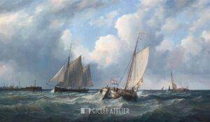 Zeilschepen voor haveningang - Peter Sterkenburg