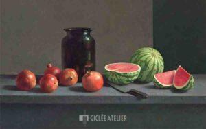 Watermeloen en granaatappels - Henk Helmantel - gicleekunst
