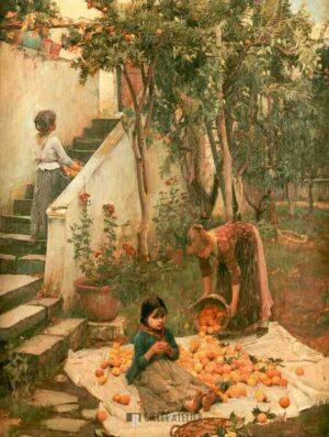 Oranjeplukkers - John William Waterhouse - gicleekunst