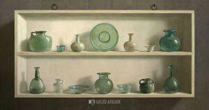 Romeins glas in kast - Henk Helmantel - gicleekunst