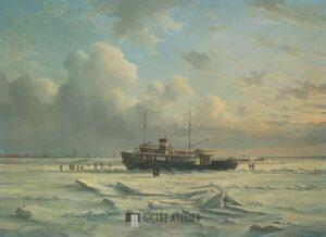 Veerboot MS Vlieland in 't ijs - Peter Sterkenburg - gicleekunst