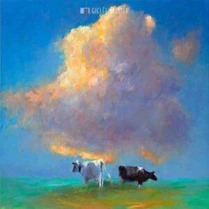 Wolk en koeien - Dinie Boogaart - gicleekunst