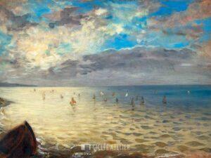 De Zee vanaf de hoogten van Dieppe - Eugene Delacroix - gicleekunst