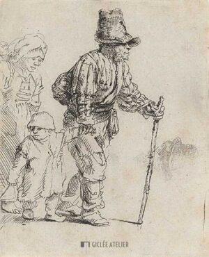Rondtrekkende boerenfamilie - Rembrandt van Rijn - gicleekunst