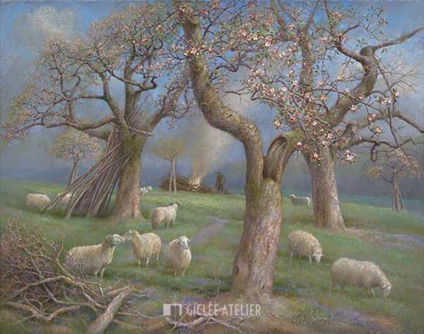 Schapen in de boomgaard - Patrick Creyghton - gicleekunst