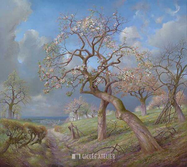 Bloeiende appelbomen Maasvallei - Patrick Creyghton - gicleekunst
