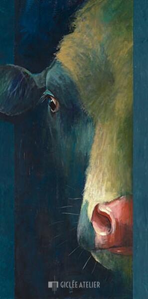 Koe in stal - Theo Onnes - gicleekunst