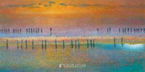 Sunset on water - Ton Dubbeldam - gicleekunst