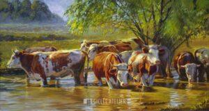 Roodbont vee onder wilg - Jan van 't Hoff - gicleekunst