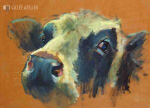 Koe op oranjebruin - Theo Onnes - gicleekunst