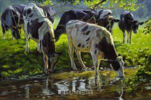 Zwartbont vee drinkend uit een beek - Jan van 't Hoff - gicleekunst