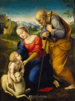De heilige familie met lam - Raphael - gicleekunst