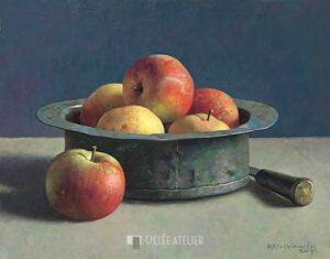 Koperen bak met appels - Henk Helmantel - gicleekunst
