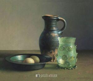 Stilleven met 15e eeuws drinkglas - Henk Helmantel - gicleekunst
