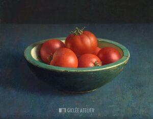 Tomaten in groene bak - Henk Helmantel - gicleekunst